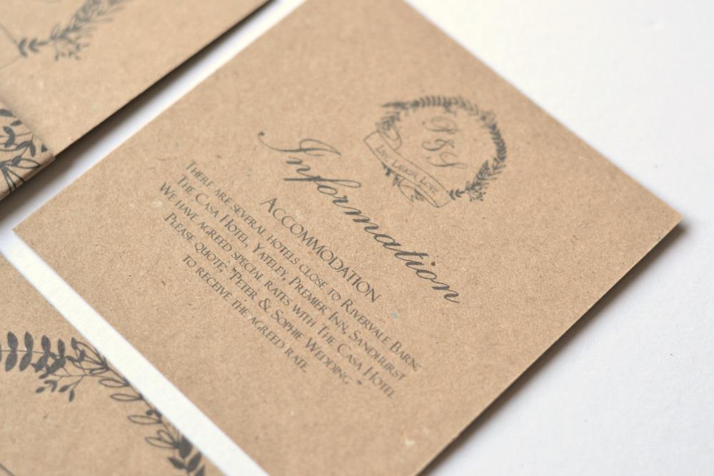 Woodland kraft brown rustic wedding stationery and