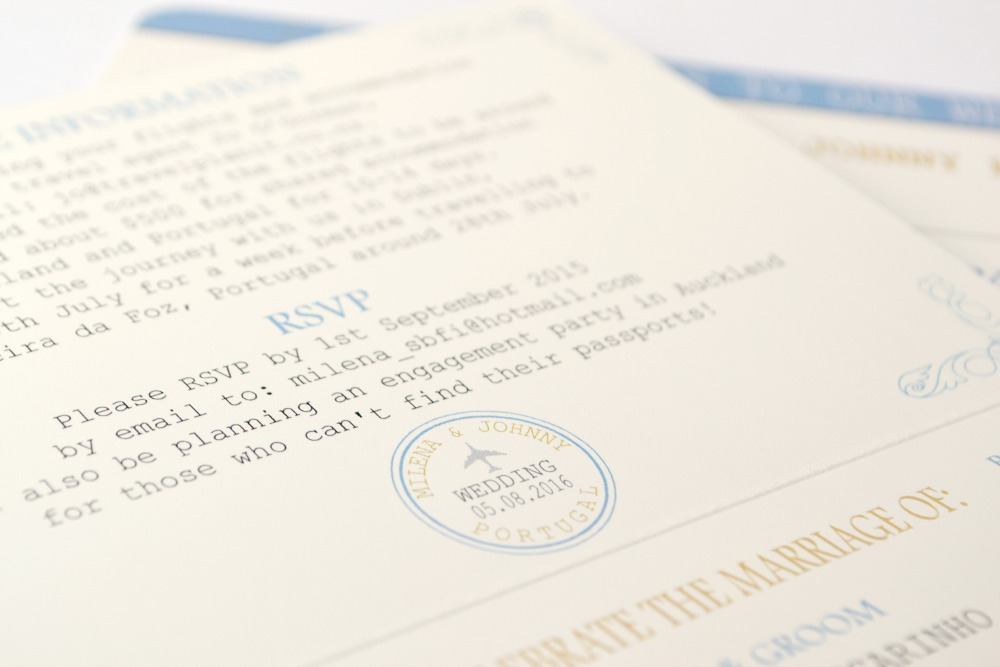 Passport travel wedding invitation