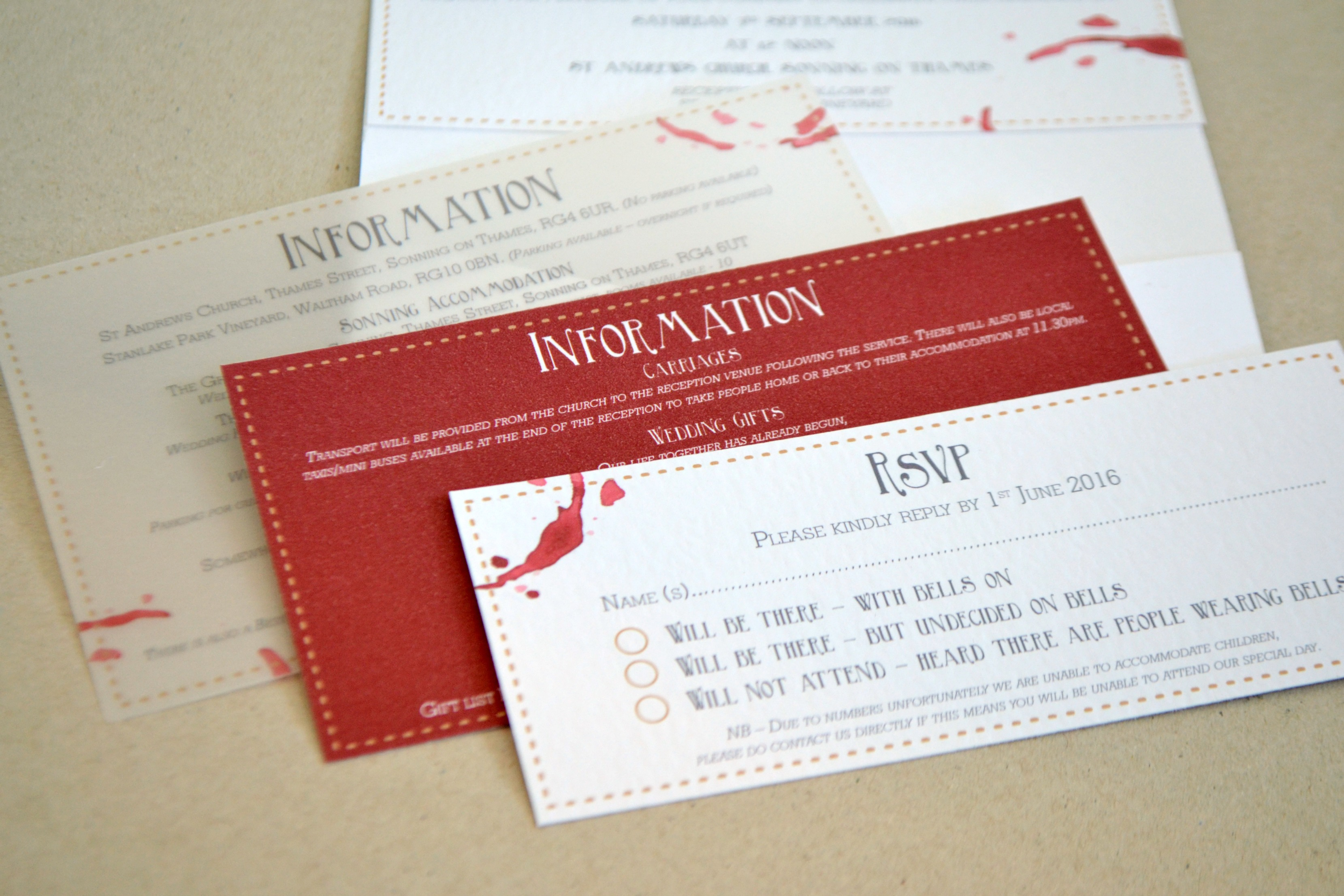 Vineyard Wedding, Wine stained wedding stationery
