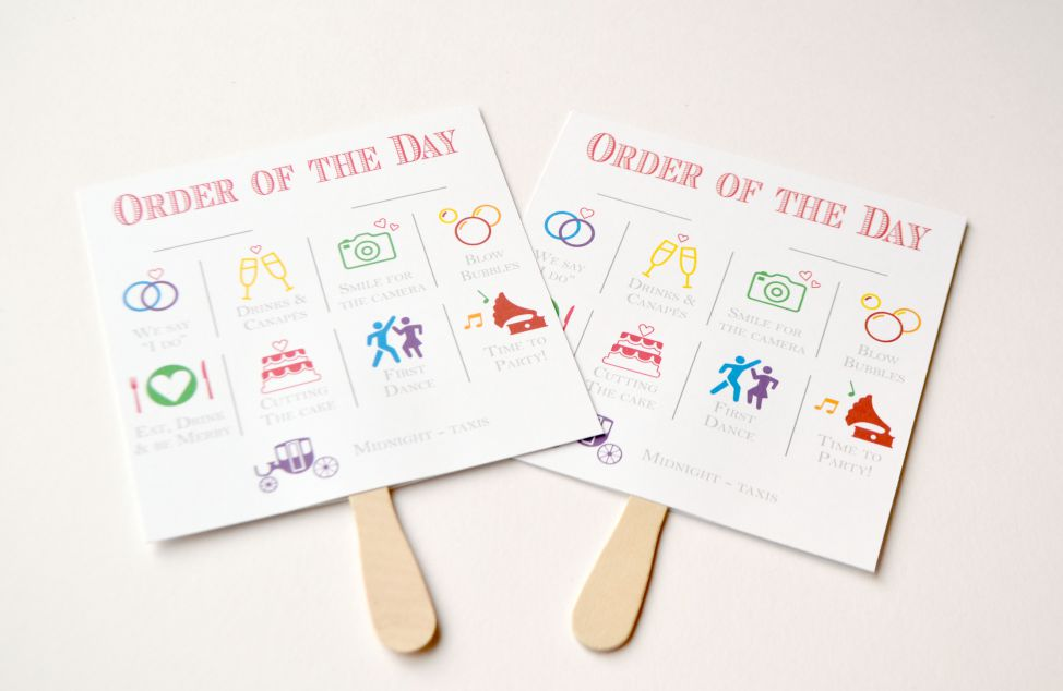 Wedding Order Of The Day: Candy Pop, Bright, Circus, Wedding, Order Of Day Fan