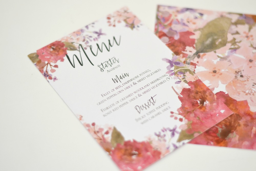 floral and chalkboard wedding invitations