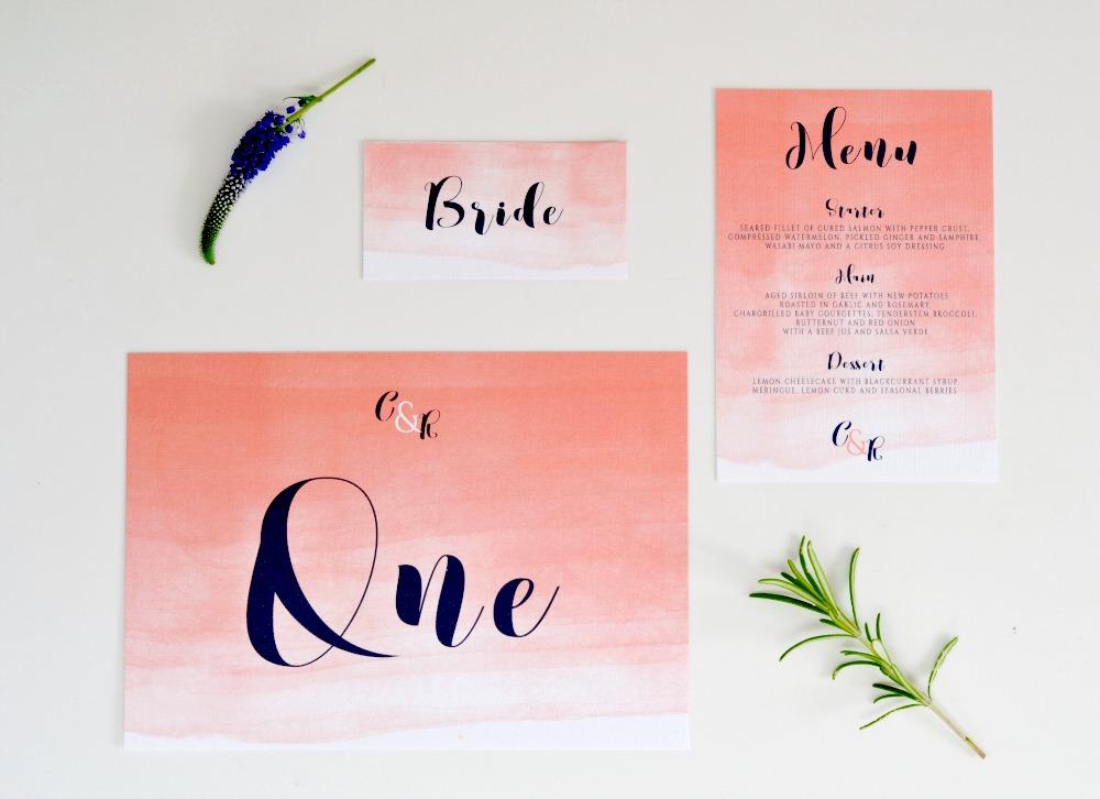 ombre watercolour wedding invitations