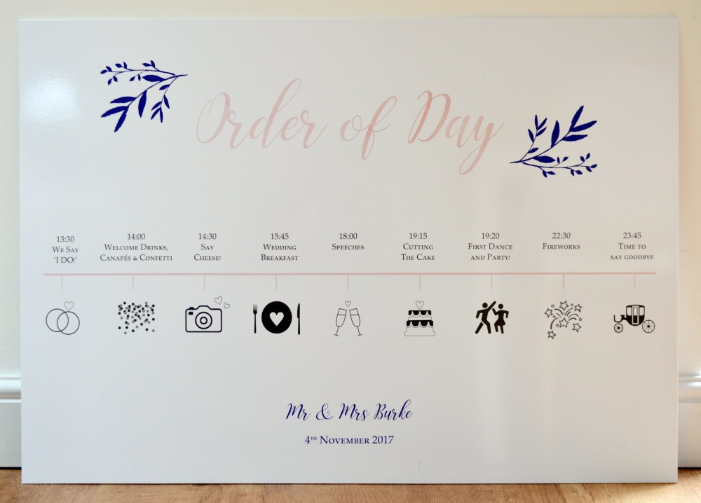 wedding timeline  order of day sign
