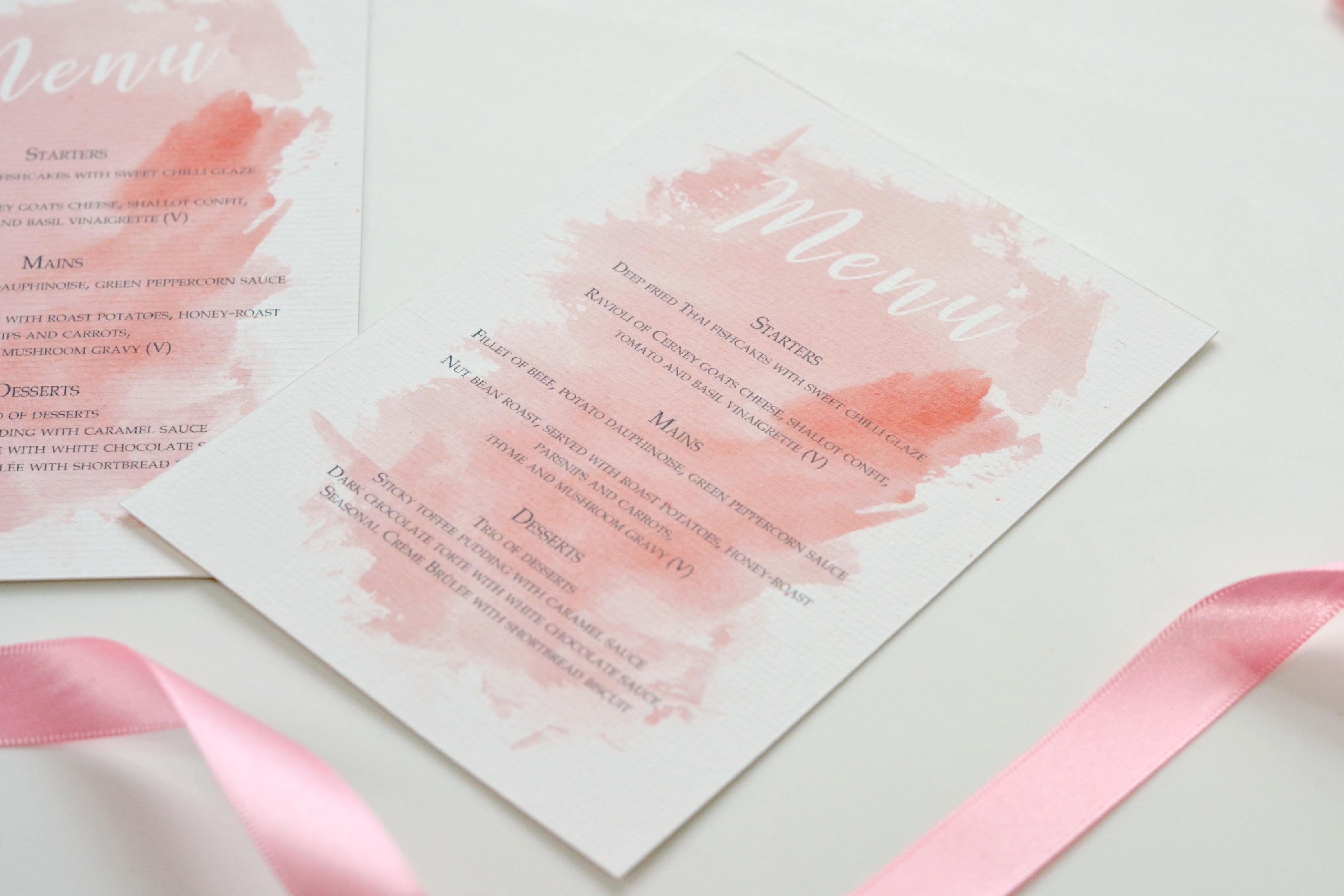 Blush Pink Watercolour And Navy Wedding
