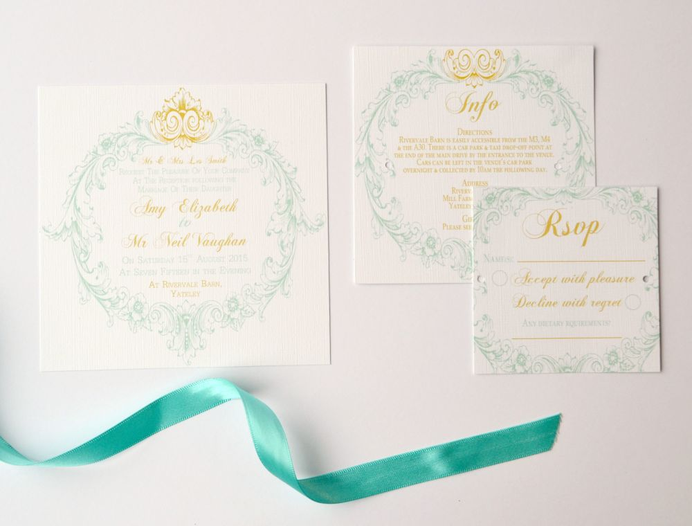 French Romantic teal and gold wedding invitations