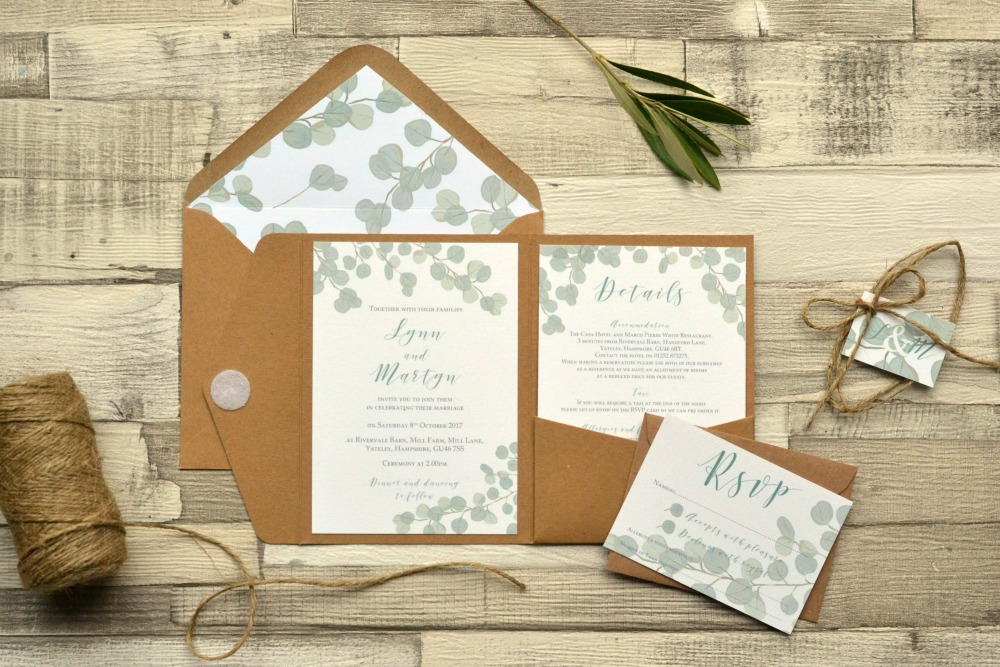 eucalyptus wedding invites
