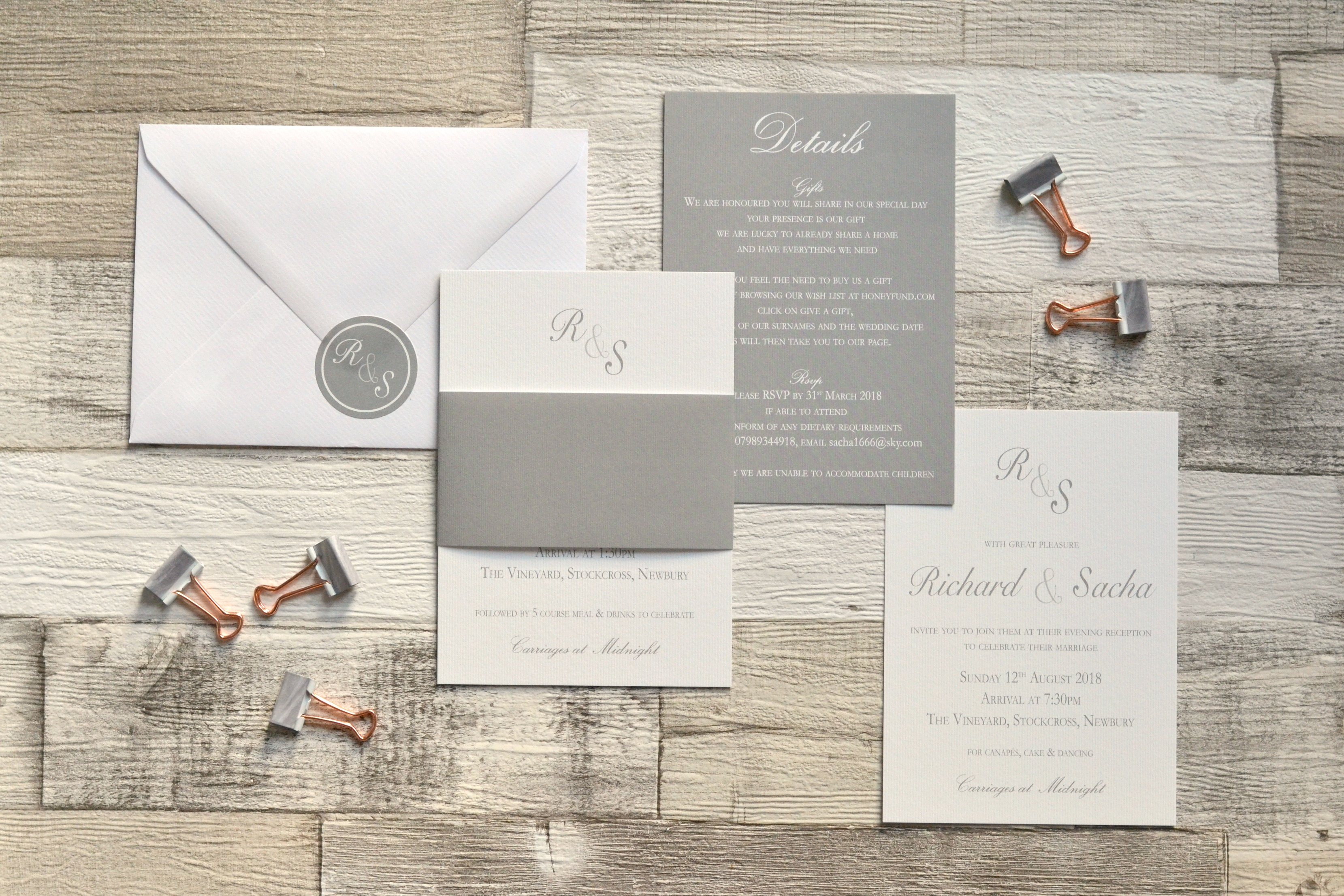 Grey and White modern minimalist invitation