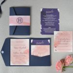 Blush pink watercolour and navy blue wedding stationery